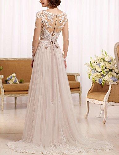 Langarm Hochzeitskleid A Linie Tattoo Spitze Champagner Mode
