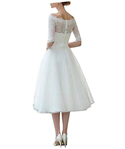 Cloverbridal Damen Elfenbein Tüll Brautkleider Hochzeitskleider Prinzessin A-Linie Lang Vintage Perlen Hochzeitskleid Spitze - 2