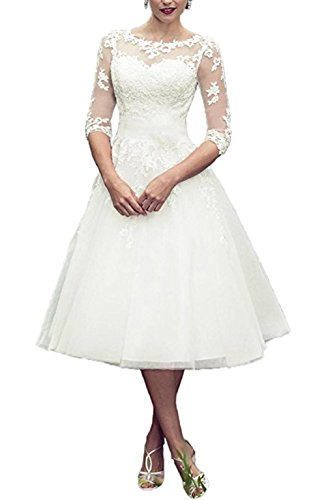 BRLMALL Vintage Style Wedding Dress, Tea-length