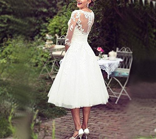 BRLMALL Women's Vintage 50s Style Fancy Wedding Dress Tea-length - 3