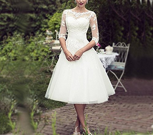 BRLMALL Women's Vintage 50s Style Fancy Wedding Dress Tea-length - 4