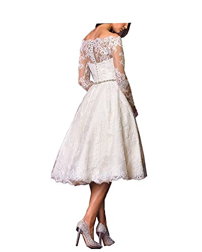 Aurora dresses Damen Spitze Hochzeitskleid Vintage Teelänge Romantisch Brautkleider Langarm(Elfenbein,34) - 2