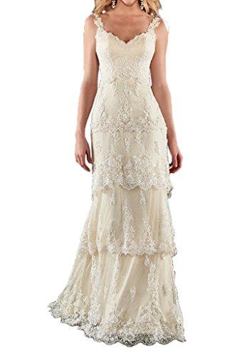 Milano Bride Hochzeitskleid mit Trägern aus Spitze, Beige