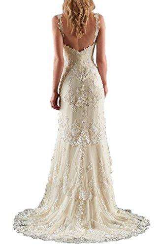 Milano Bride Zwei-Traeger Spitze Applikation Brautkleider Hochzeitskleider Tuell Lang Etui-42-Beige - 2