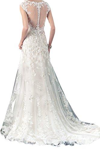 Milano Bride Zeitlos Rundkragen Spitze Prinzess Hochzeitskleider Brautkleider Tuell Brautmode Damen-48-Elfenbein - 2