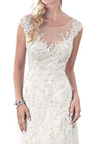 Milano Bride Zeitlos Rundkragen Spitze Prinzess Hochzeitskleider Brautkleider Tuell Brautmode Damen-48-Elfenbein - 3