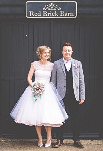 FNKSCRAFT® Brautkleid Hochzeitskleid Brautjungfer Kleider Hochzeit Kleidung Vintage 1950er Style Polka Dotted Tea Länge Wenig von Designer überlegene Qualität (38, Weiß) - 3