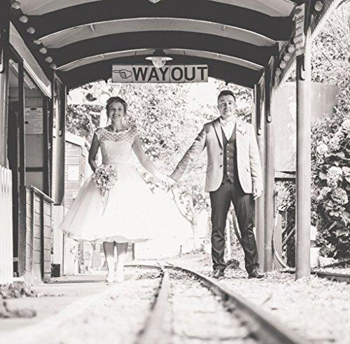 FNKSCRAFT® Brautkleid Hochzeitskleid Brautjungfer Kleider Hochzeit Kleidung Vintage 1950er Style Polka Dotted Tea Länge Wenig von Designer überlegene Qualität (38, Weiß) - 4