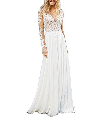 CLLA dress Chiffon Hochzeitskleid, langarm, tiefer V-Ausschnitt, Elfenbein