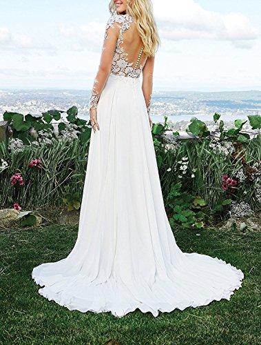 CLLA dress Damen Chiffon Hochzeitskleid Mit Langarm Tiefer V-Ausschnitt Brautkleider Brautmode Brautjungferkleider(Elfenbein,40) - 2