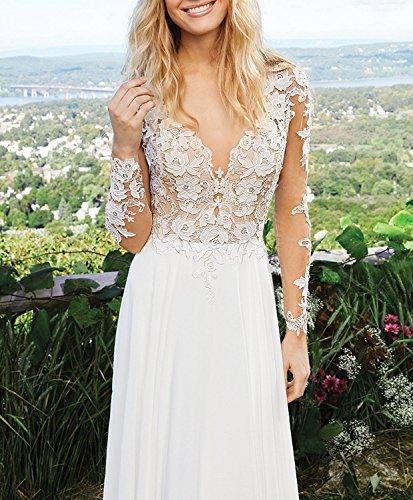 CLLA dress Damen Chiffon Hochzeitskleid Mit Langarm Tiefer V-Ausschnitt Brautkleider Brautmode Brautjungferkleider(Elfenbein,40) - 3