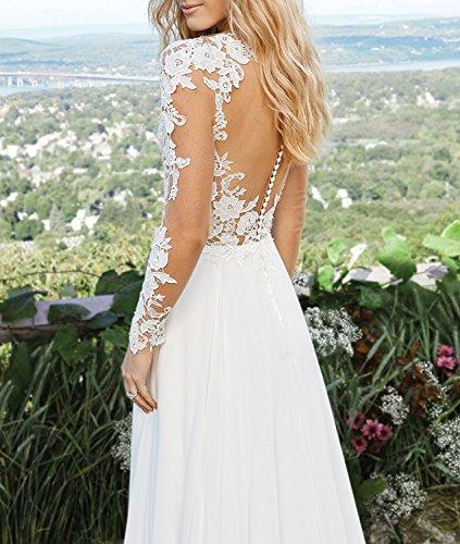 CLLA dress Damen Chiffon Hochzeitskleid Mit Langarm Tiefer V-Ausschnitt Brautkleider Brautmode Brautjungferkleider(Elfenbein,40) - 4