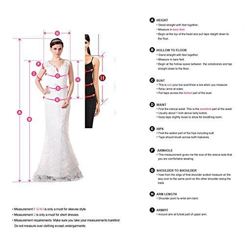 CLLA dress Damen Chiffon Hochzeitskleid Mit Langarm Tiefer V-Ausschnitt Brautkleider Brautmode Brautjungferkleider(Elfenbein,40) - 5