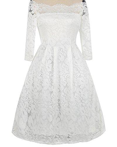 Whoinshop Damen Vintage 1950er Off Schulter Cocktailkleid Retro Spitzen Schwingen Pinup Rockabilly Kleid (XXL, Weiß1) - 2