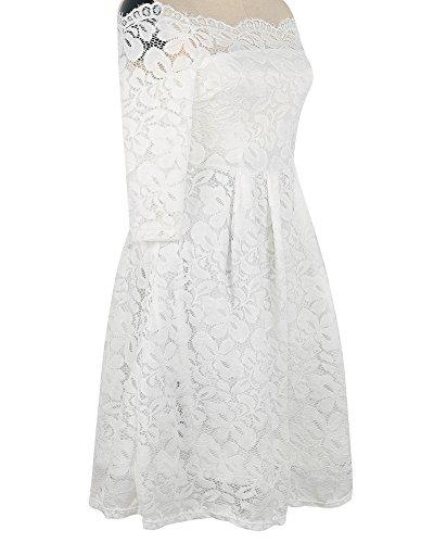 Whoinshop Damen Vintage 1950er Off Schulter Cocktailkleid Retro Spitzen Schwingen Pinup Rockabilly Kleid (XXL, Weiß1) - 3