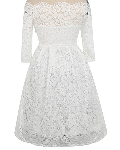 Whoinshop Damen Vintage 1950er Off Schulter Cocktailkleid Retro Spitzen Schwingen Pinup Rockabilly Kleid (XXL, Weiß1) - 4