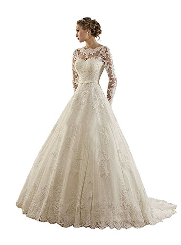 DreamyDesign Wunderschönes Vintage Brautkleid mit langen Spitzenärmeln