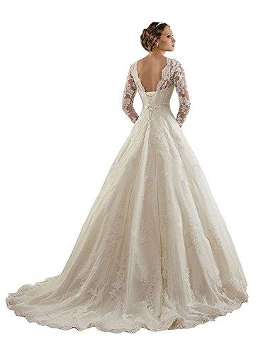 DreamyDesign Damen Wunderschön Vintage Spitze Brautkleid Langarm Hochzeitskleid Standesamt mit Schnürung Hinten mit Schleppe DE46 Elfenbein - 2