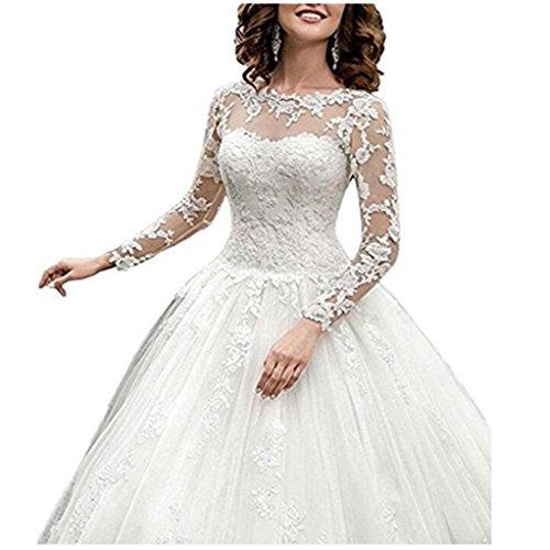 XUYUDITA Langarm Vintage Brautkleid