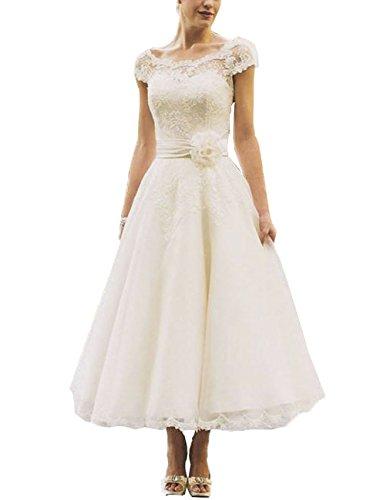 DreamyDesign Vintage A-Linie Hochzeitskleid, kurz, weiß