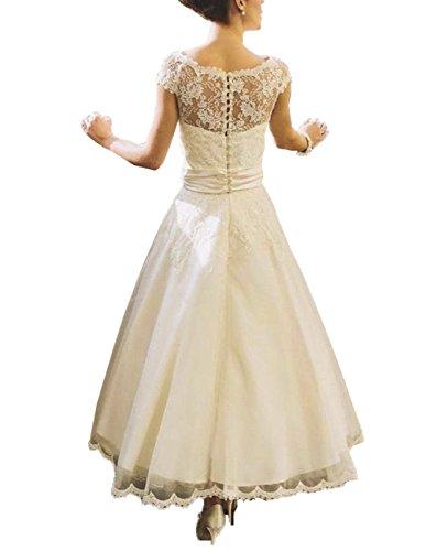 Dreamydesign Vintage A Linie Hochzeitskleid Kurz Weiss Mode Ja