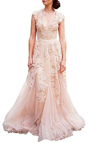 BRLMALL Women's Vintage Cap Sleeve Wedding Dresses