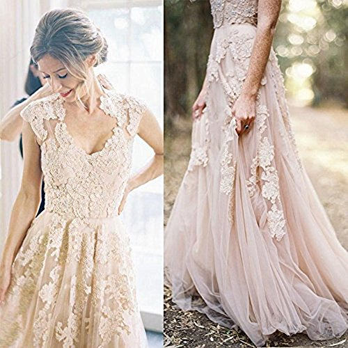 BRLMALL Women's Vintage Cap Sleeve Appliques Tulle Wedding Dresses Bridal Gown - 4