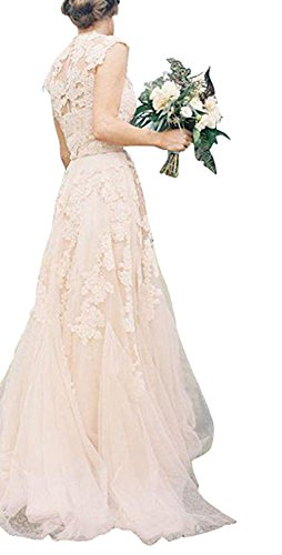 BRLMALL Women's Vintage Cap Sleeve Appliques Tulle Wedding Dresses Bridal Gown - 5