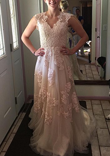 BRLMALL Women's Vintage Cap Sleeve Appliques Tulle Wedding Dresses Bridal Gown - 6