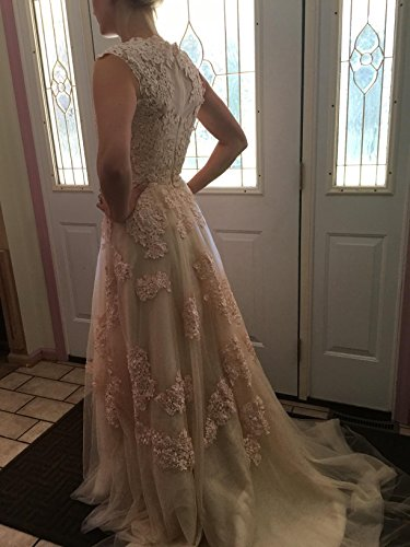 BRLMALL Women's Vintage Cap Sleeve Appliques Tulle Wedding Dresses Bridal Gown - 7