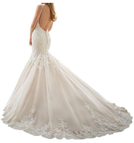 Milano Bride Damen Brillante Spaghetti Hochzeitskleider Brautkleider Meerjungfrau Brautmode Figurbetot Spitze Schleppe-34-Elfenbein - 2
