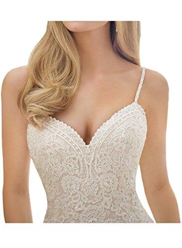Milano Bride Damen Brillante Spaghetti Hochzeitskleider Brautkleider Meerjungfrau Brautmode Figurbetot Spitze Schleppe-34-Elfenbein - 3