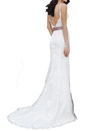 Milano Bride Brillante Spaghetti Hochzeitskleider Brautkleider Brautmode Spitze Etui-linie Spitzenkleider Schleppe 40-Weiss - 2