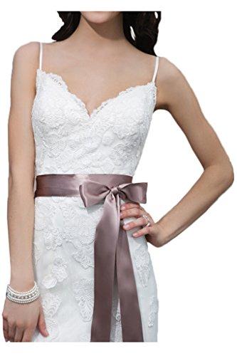 Milano Bride Brillante Spaghetti Hochzeitskleider Brautkleider Brautmode Spitze Etui-linie Spitzenkleider Schleppe 40-Weiss - 3