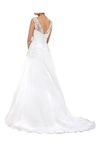 Milano Bride Damen Spitze Tuell U-Ausschnitt Hochzeitskleid Brautkleider A-Linie mit Schleppe-42-Weiss - 2
