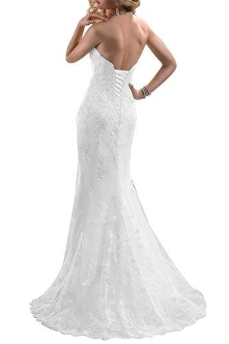 Gorgeous Bride Elegant Herz-Ausschnitt Lang Meerjungfrau Satin Spitze Tuell Schleppe Brautkleider Hochzeitskleider -36 Weiss - 3