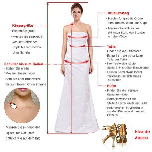 Gorgeous Bride Elegant Herz-Ausschnitt Lang Meerjungfrau Satin Spitze Tuell Schleppe Brautkleider Hochzeitskleider -36 Weiss - 5