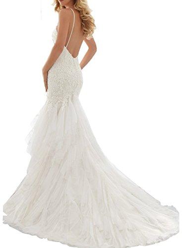 Milano Bride Damen Attraktiv Herz-Ausschnitt Traeger Abendkleider Brautkleider Ballkleider Hochzeitskleider Spitzen Etui Lang Rueckenfrei34-Weiss - 2