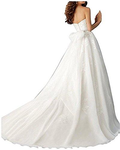 Cloverbridal Spitze Herzausschnitt Hochzeitskleider Brautkleider Brautmode Prinzess A-linie Rock mit lang Schleppe - 2