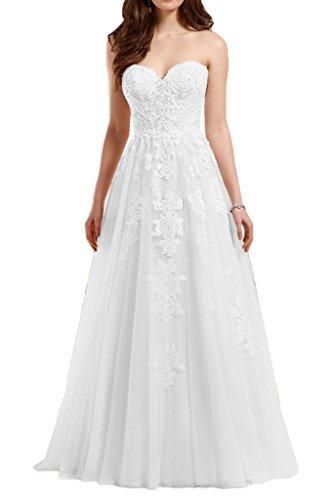 Victory Bridal Romantisches weißes Brautkleid mit Herzausschnitt