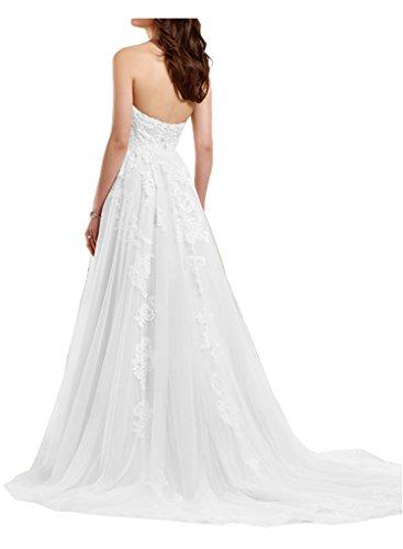 Victory Bridal Romantisch weiss Herzausschnitt Bodenlang Hochzeitskleider Brautkleider Brautmode Lang A-linie-36 weiss - 2