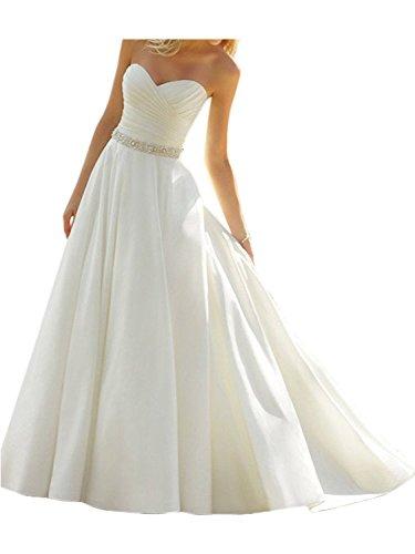 Mingxuerong Hochzeitskleider mit Rhinestonegurt, Lang A-linie