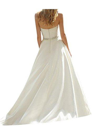 Mingxuerong Elfenbein Elegant Herzausschnitt Hochzeitskleider Rhinestonegurt Brautkleider Brautmode Lang A-linie (32, weiß) - 2