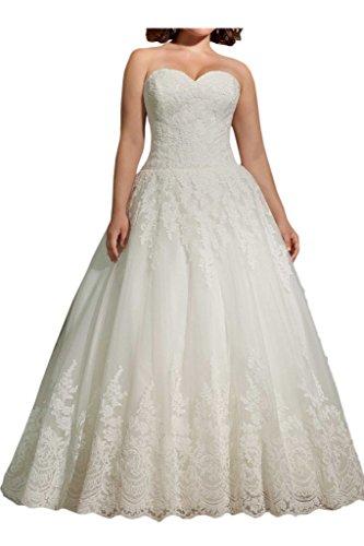 Charmantes Prinzessinnen Hochzeitskleid mit Spitze, lang, Elfenbein