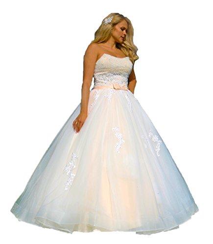 Luxus Hochzeitskleid, Maßanfertigung, Spitze,Tüll, Herzausschnitt
