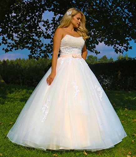 Luxus Brautkleid Hochzeitskleid NEU Braut Spitze Prinzessin Brautkleider Maßanfertigung Spitzenkleid Herzausschnitt Kleid Hochzeit Weiß Ivory nach Maß Tüll - 2