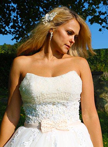 Luxus Brautkleid Hochzeitskleid NEU Braut Spitze Prinzessin Brautkleider Maßanfertigung Spitzenkleid Herzausschnitt Kleid Hochzeit Weiß Ivory nach Maß Tüll - 3