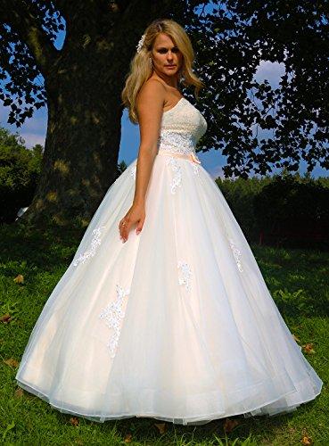 Luxus Brautkleid Hochzeitskleid NEU Braut Spitze Prinzessin Brautkleider Maßanfertigung Spitzenkleid Herzausschnitt Kleid Hochzeit Weiß Ivory nach Maß Tüll - 4