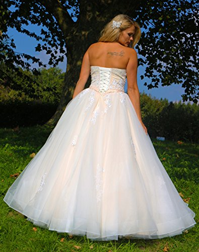 Luxus Brautkleid Hochzeitskleid NEU Braut Spitze Prinzessin Brautkleider Maßanfertigung Spitzenkleid Herzausschnitt Kleid Hochzeit Weiß Ivory nach Maß Tüll - 5