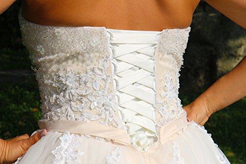 Luxus Brautkleid Hochzeitskleid NEU Braut Spitze Prinzessin Brautkleider Maßanfertigung Spitzenkleid Herzausschnitt Kleid Hochzeit Weiß Ivory nach Maß Tüll - 6